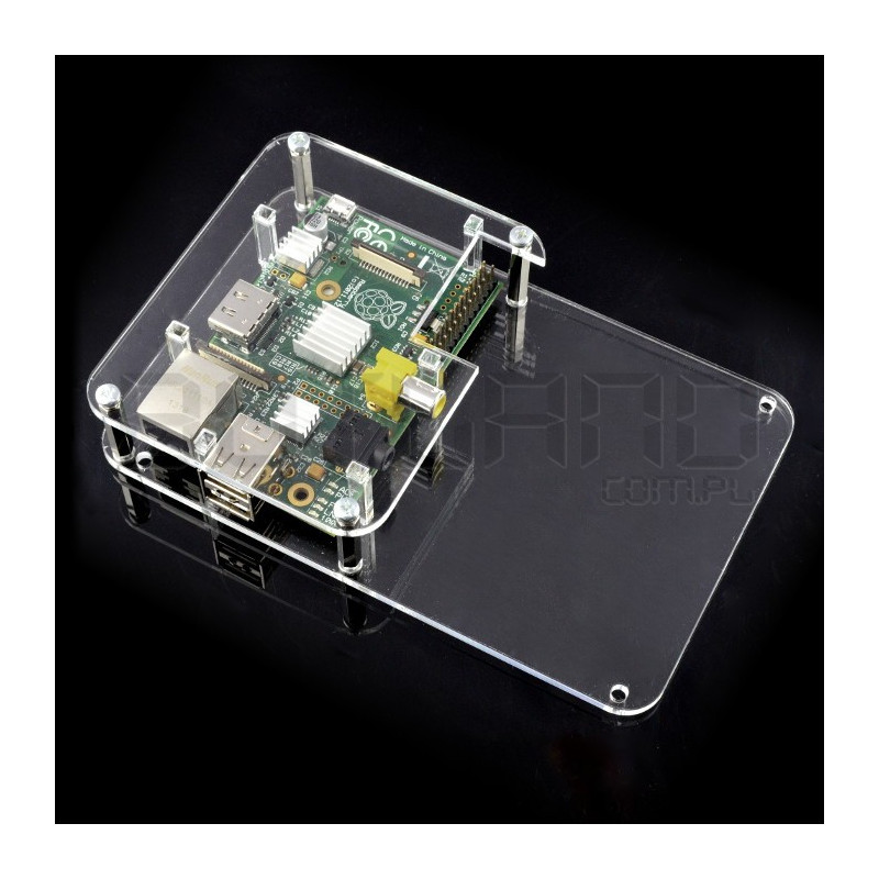 Case Raspberry Pi Model B with space for contact plate - transparent