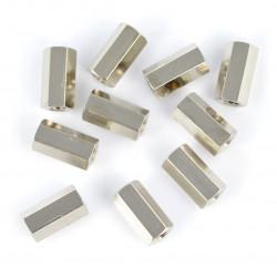 Tuleja dystansowa mosiężna srebrna - 10mm - 10szt.