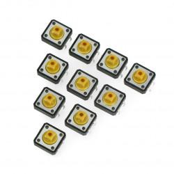 Tact Switch 12x12, 7mm THT 4pin - kwadrat - żółty