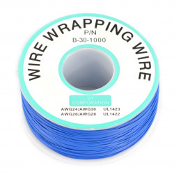 Insulated PVC Coated 30AWG Wire Wrapping Wires Reel 1000Ft - blue