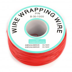 Insulated PVC Coated 30AWG Wire Wrapping Wires Reel 1000Ft - red