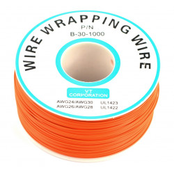 Insulated PVC Coated 30AWG Wire Wrapping Wires Reel 820Ft - orange
