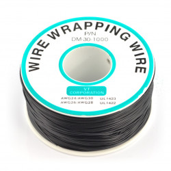Insulated PVC Coated 30AWG Wire Wrapping Wires Reel 820Ft - black