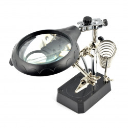 Magnifyier with auxiliary clip - 5 LEDs
