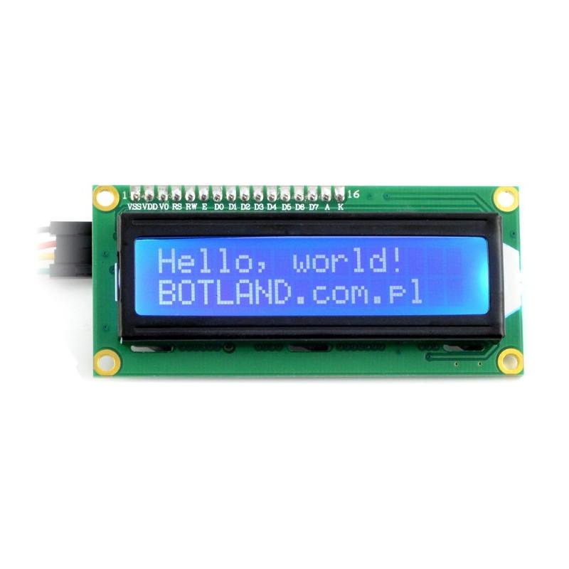 Wyświetlacz LCD 2x16 znaków niebieski + konwerter I2C LCM1602