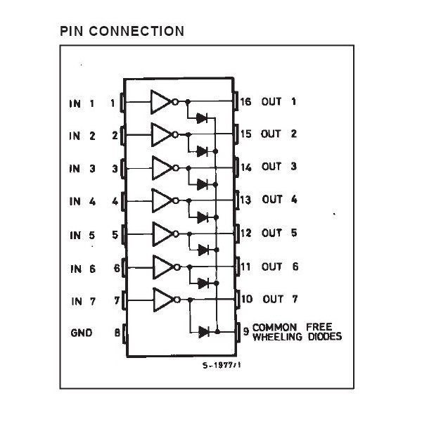 integrated circuit uln2003an 7xdarlington - tht