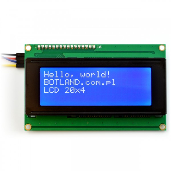 LCD display 4x20 characters blue + I2C LCM1602 converter