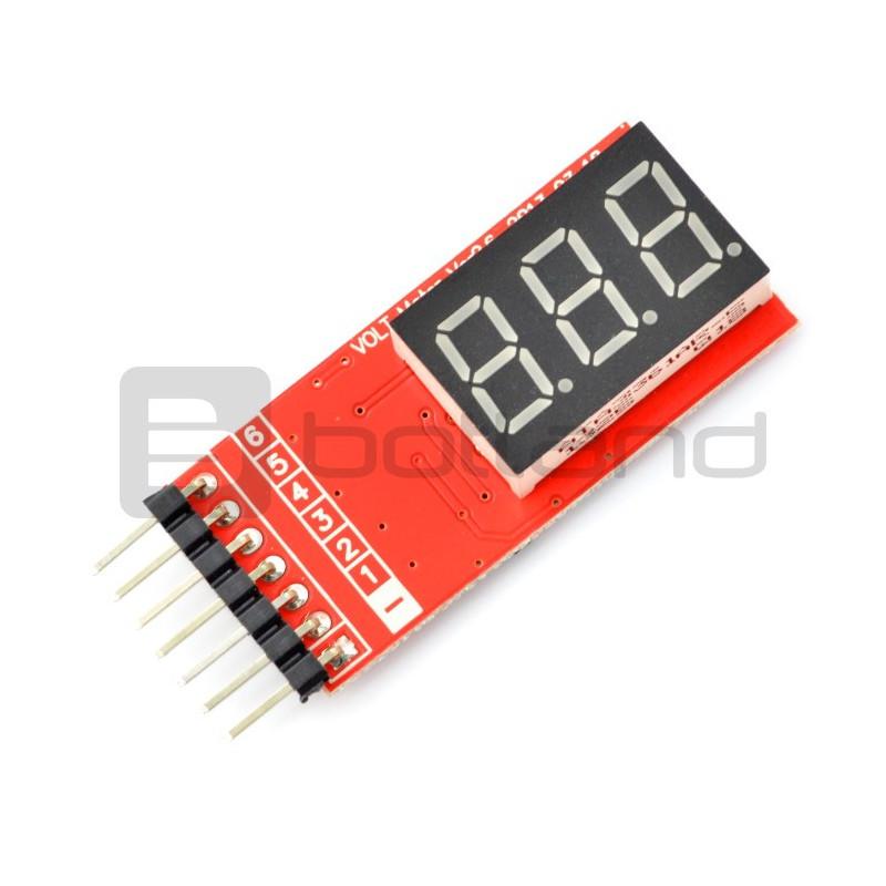 Wskaźnik napięcia LiPo LCD 2-6 ogniw