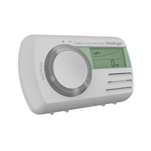 Inteligentny budynek - czujnik tlenku węgla z wyświetlaczem i pomiarem temperatury.