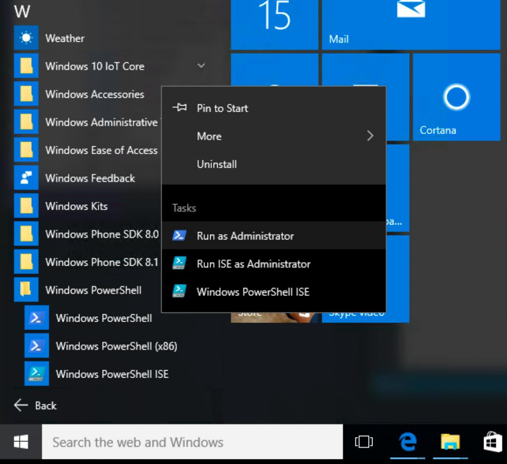 Windows PowerShell - uruchom jako administrator