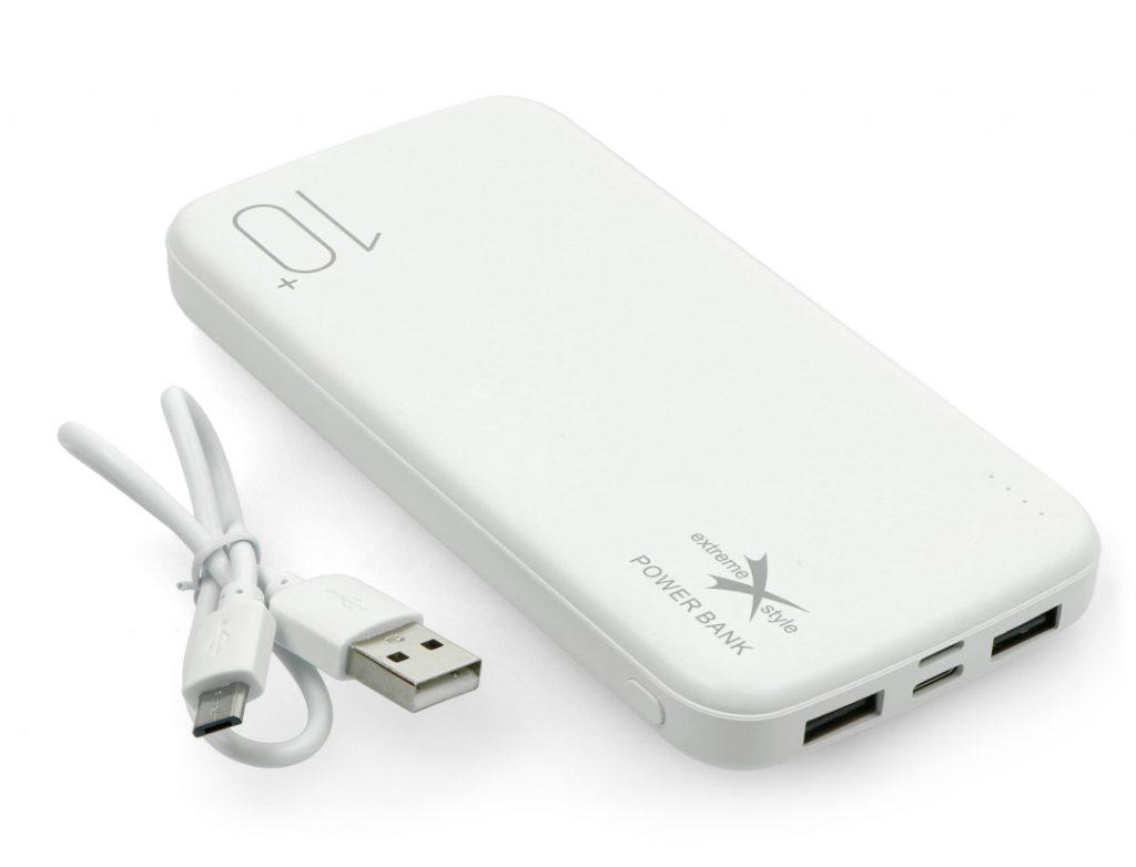 Mobilna bateria Powerbank Extreme Style Ampere 10000mAh - microUSB, USB C, Lightning - biała
