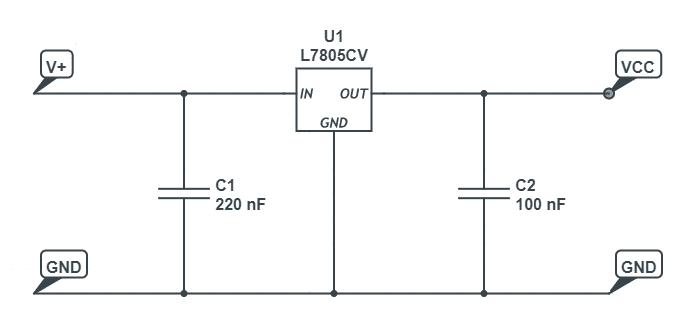 Schemat ze stabilizatorem napięcia i dodatkowymi kondensatorami