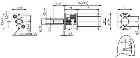 Wymiary micro silnika Pololu