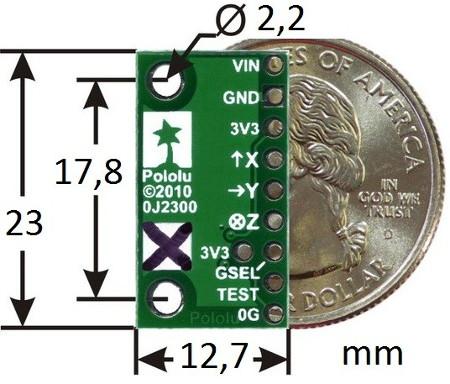 Wymiary modułu akcelerometru