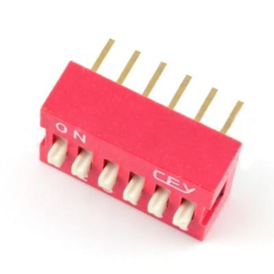 Przełącznik DIP switch 6-polowy - czerwony