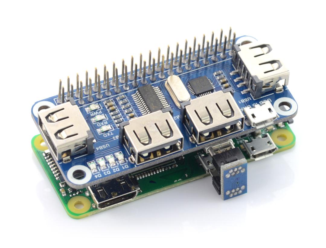 Hub USB Hat - 4-port hub for Raspberry Pi 3/2/Zero_