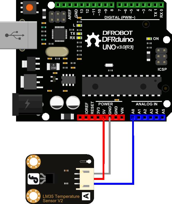 DFRobot Gravity - analogowy czujnik temperatury LM35 podłączenie