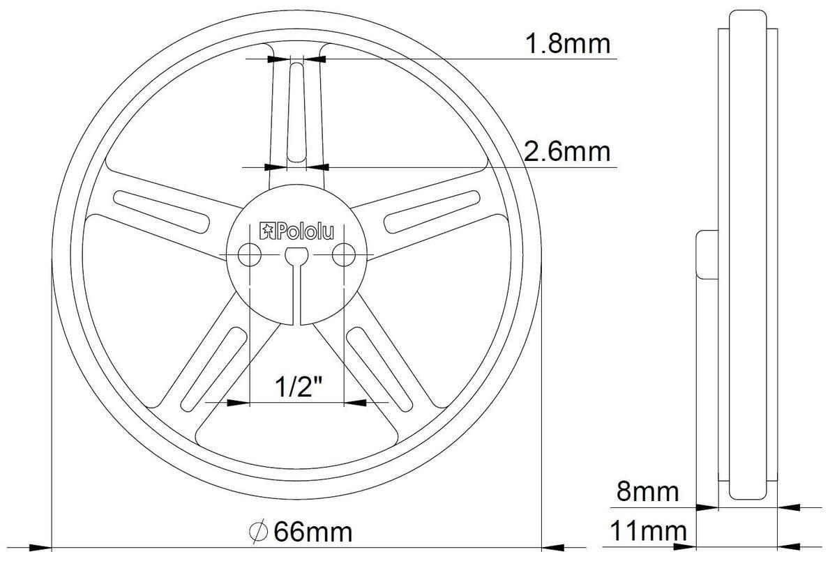Wymiary koła Pololu 70x8mm