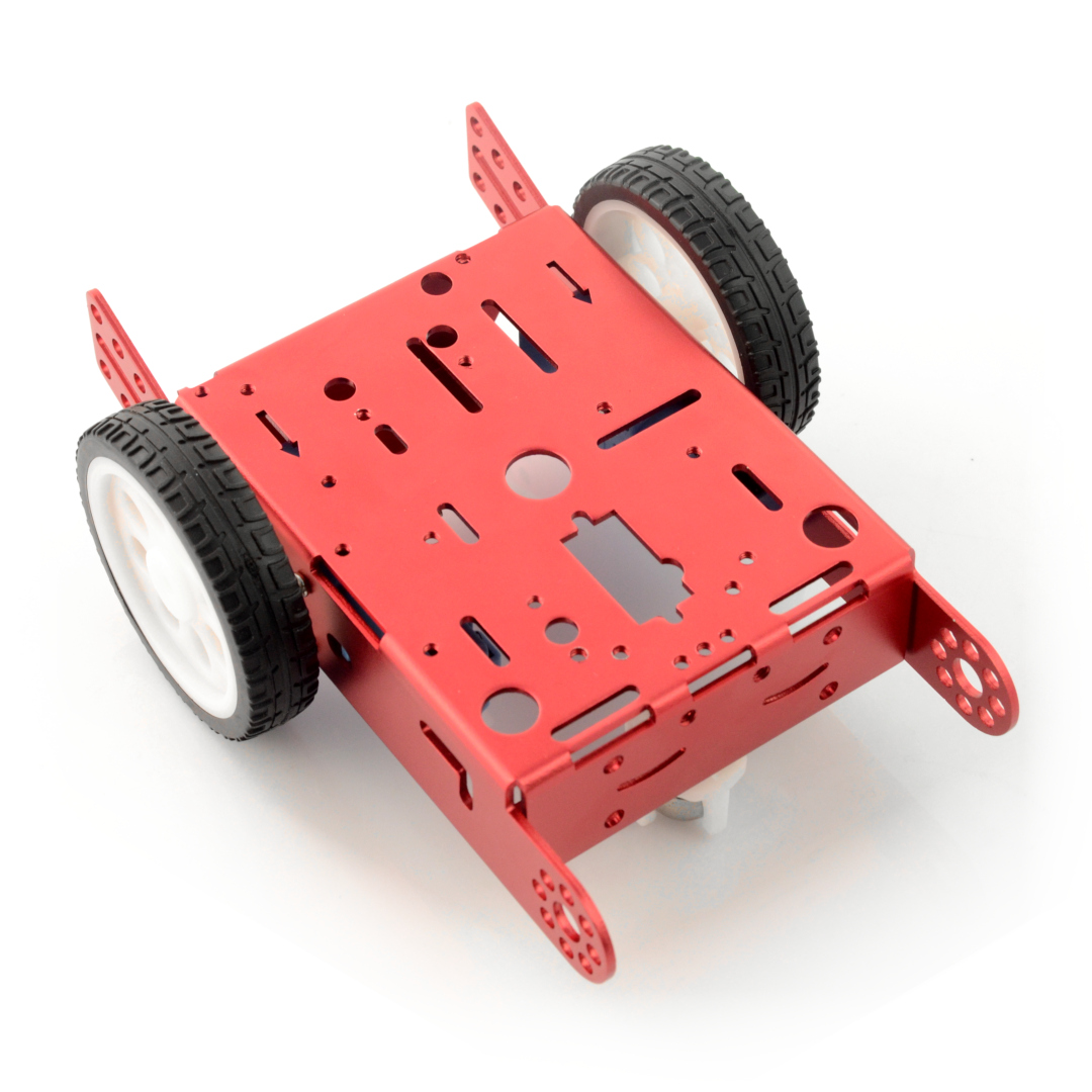 Red metal chassis 2WD 2-wheel for building robot - Botland