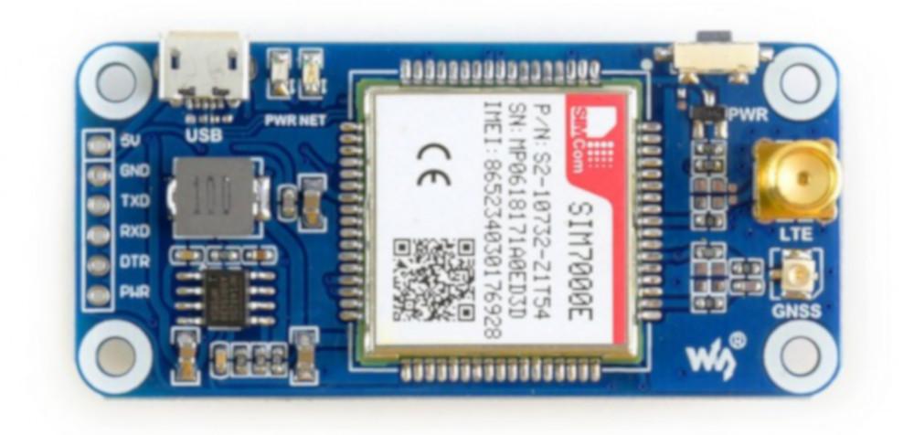 Waveshare LTE GPS HAT - NB-IoT/LTE/GPRS/GPS SIM7000E - nakładka dla  Raspberry Pi 3B+/3B/2B/Zero
