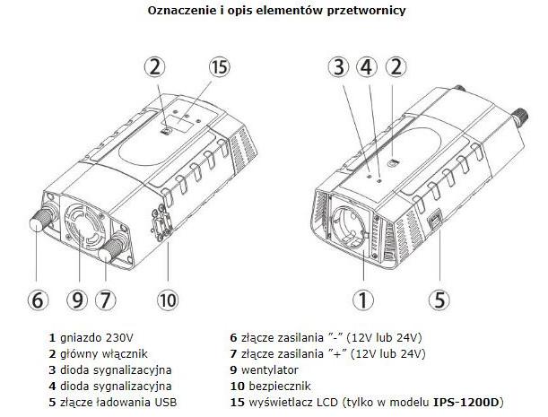 AZO Digital DC / AC Step-Up Voltage Regulator IPS-1200D - 12VDC / 230VAC  1200W - car with display