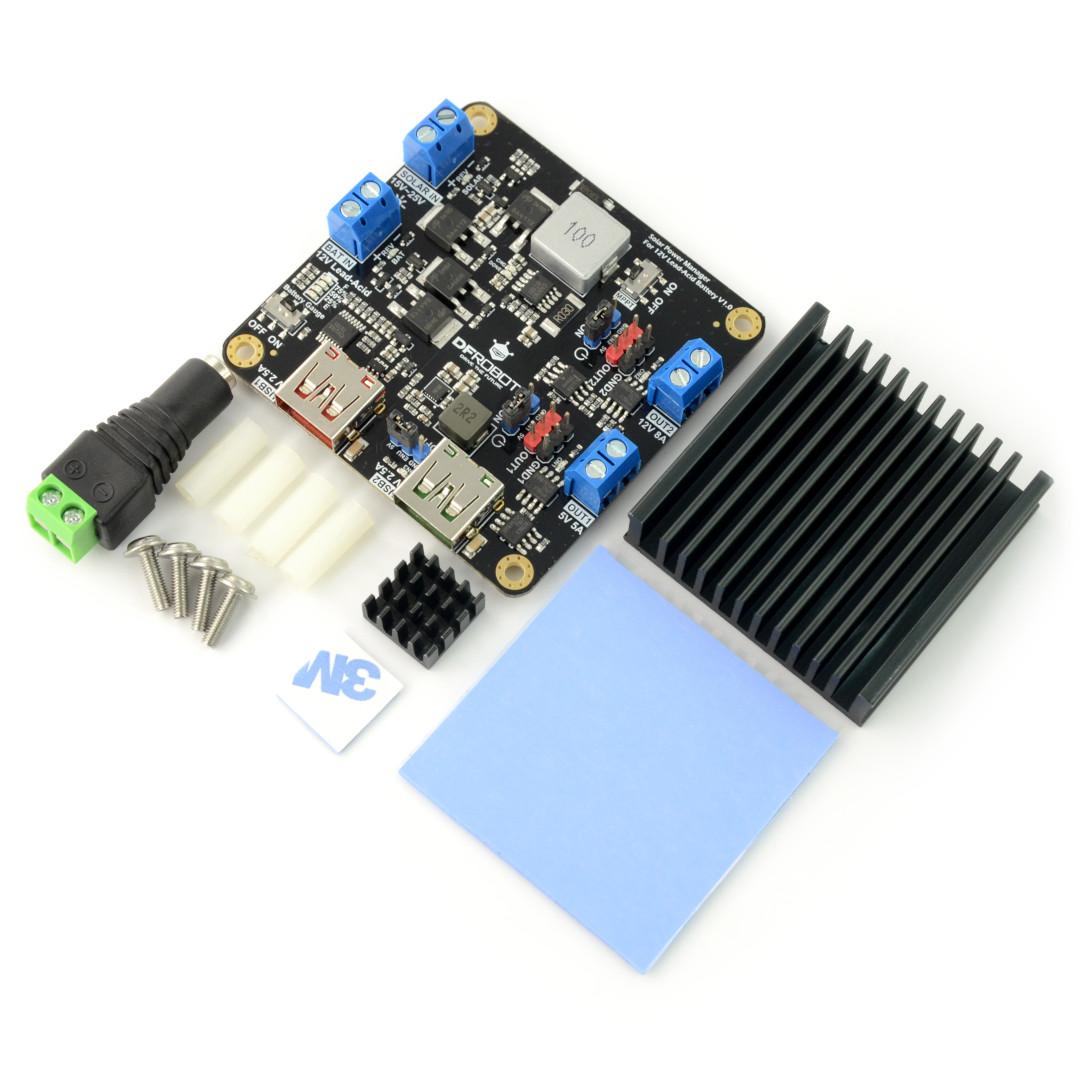 DFRobot DFR0580 Solar Power Manager - moduł zarządzania energią słoneczną  do akumulatorów kwasowo-ołowiowych 12V