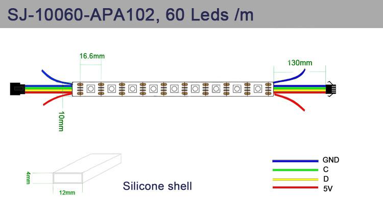 RGB LED strip SJ-10060-APA102C - digital, addressed - IP65 60 LED/m, 18W/m,  5V - 1m