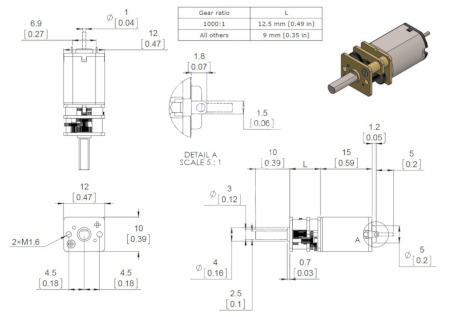 schemat silnika Pololu HP 250:1