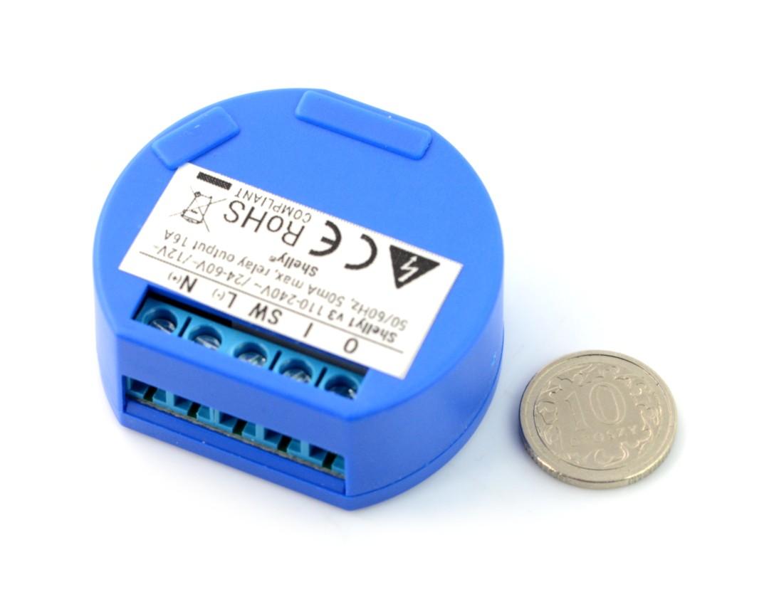 Shelly1 - Relay Switch 1x przekaźnik 12VDC / 230VAC WiFi 16A - aplikacja  Android / iOS