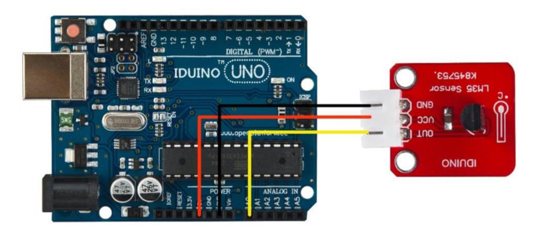 Czujnik temperatury LM35 + przewód - Iduino SE030