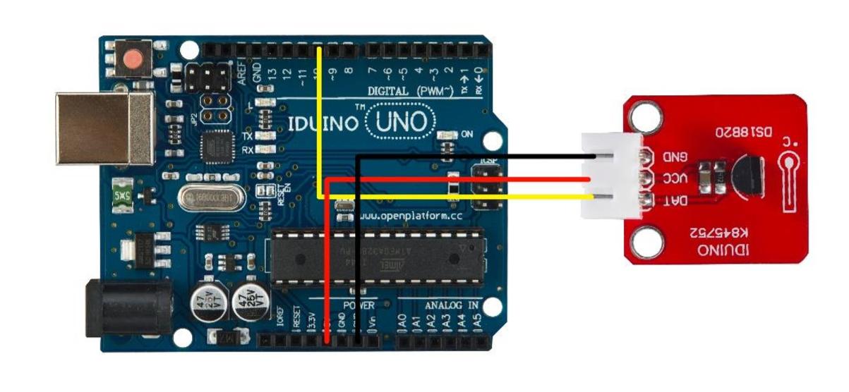 Przykład podłączenia czujnika temperatury z Arduino
