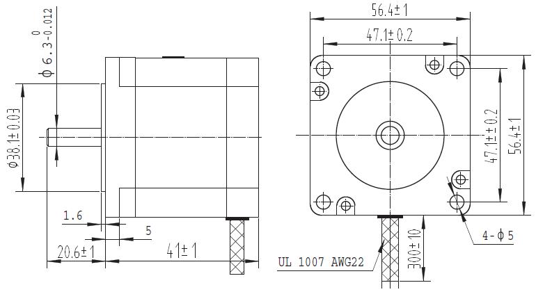 Schemat hybrydowego silnika krokowego SY57STH41-1006A