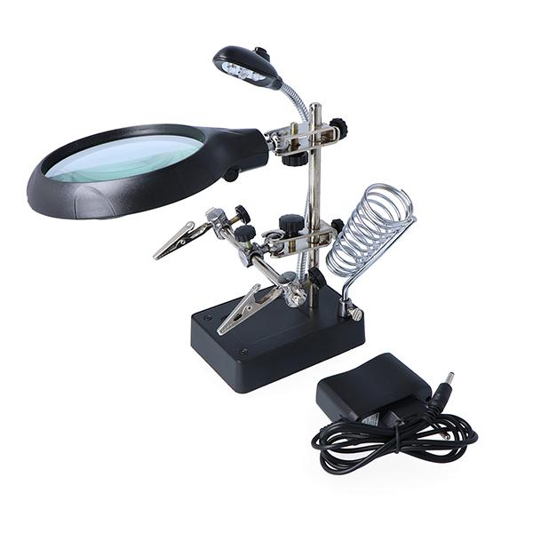 Uchwyt z lupą, podświetleniem LED i zasilaczem - trzecia ręka