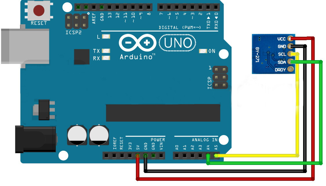 Arduino and 3-axis HMC5883L magnetometer - Botland ... on