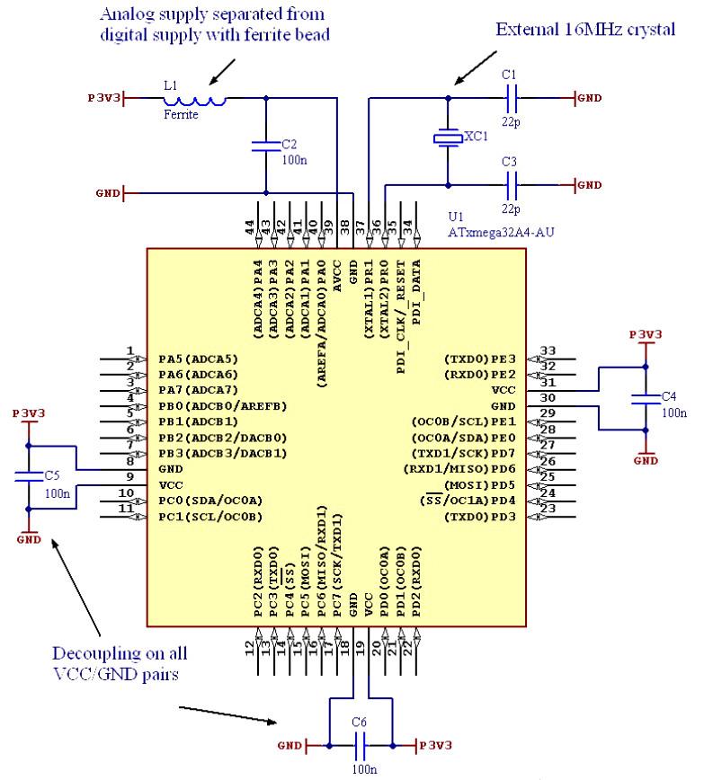 Przykład podłączenia zasilania mikrokontrolera atmega8