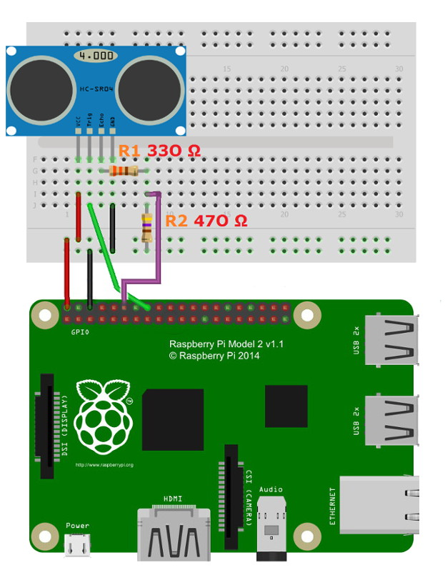 Distance measurement using Raspberry Pi and HC-SR04 or US-015