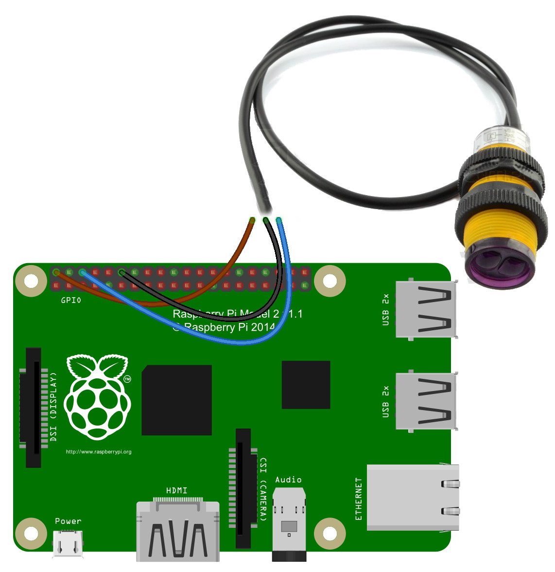 Distance measurement using Raspberry Pi and sensor E18-D80NK