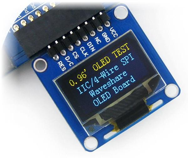 Wyświetlacz OLED dwukolorowy graficzny 0,96'' (A) 128x64px SPI/I2C- kątowe  złącza