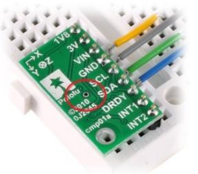 Zworka zmiany adresu I2C akcelerometru LSM303DLM