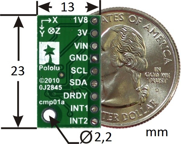 Wymiary modułu LSM303