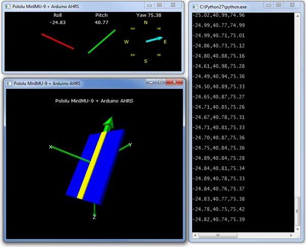 Wizualizacja w przestrzeni trójwymiarowej przy pomocy AltIMU-10