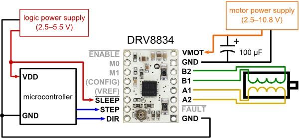 Sposób podłączenia sterownika silnika krokowego DRV8834.