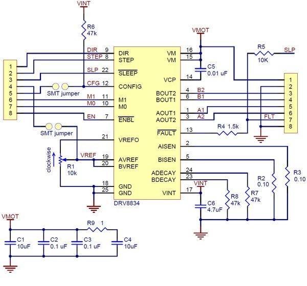 Schemat sterownika silników krokowych.