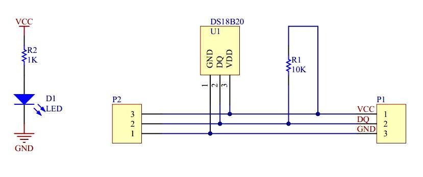 Schemat modułu z czujnikiem temperatury DS18B20+.