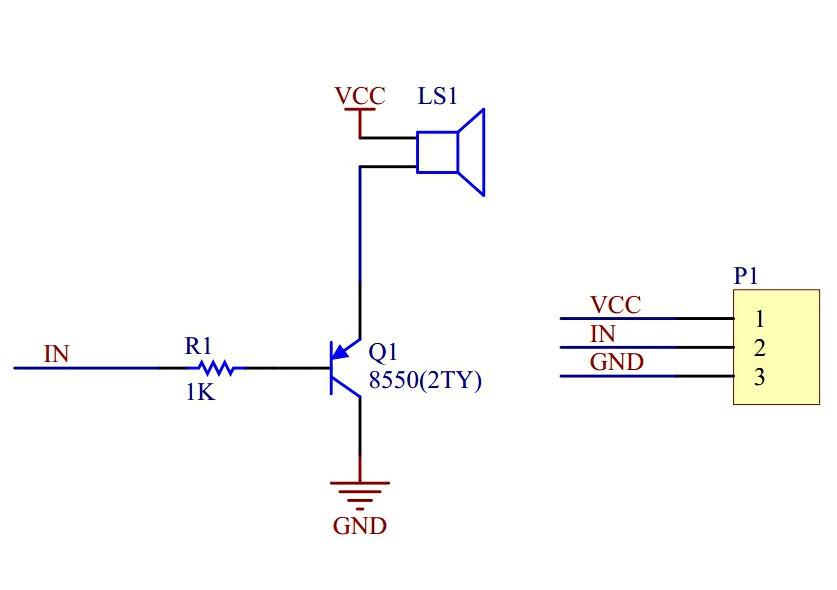 Schemat modułu z buzzerem
