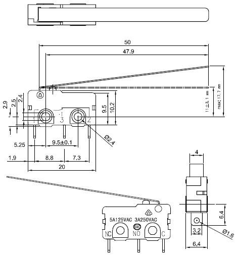 Czujnik krańcowy - schemat