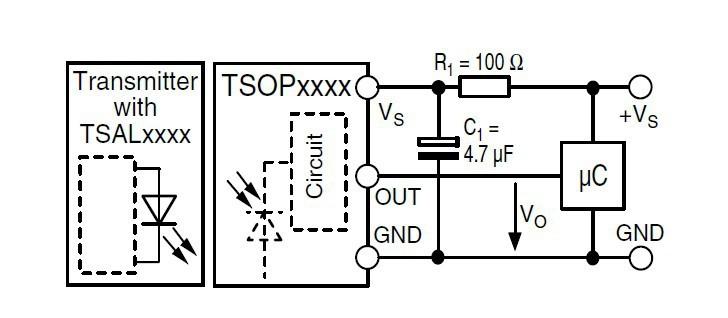 Podłączenie czujnika TSOP
