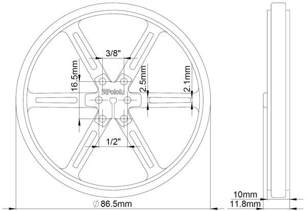 Pololu 90x10mm Wheels