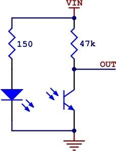 Schemat podłączenia czujnika QTR-1A