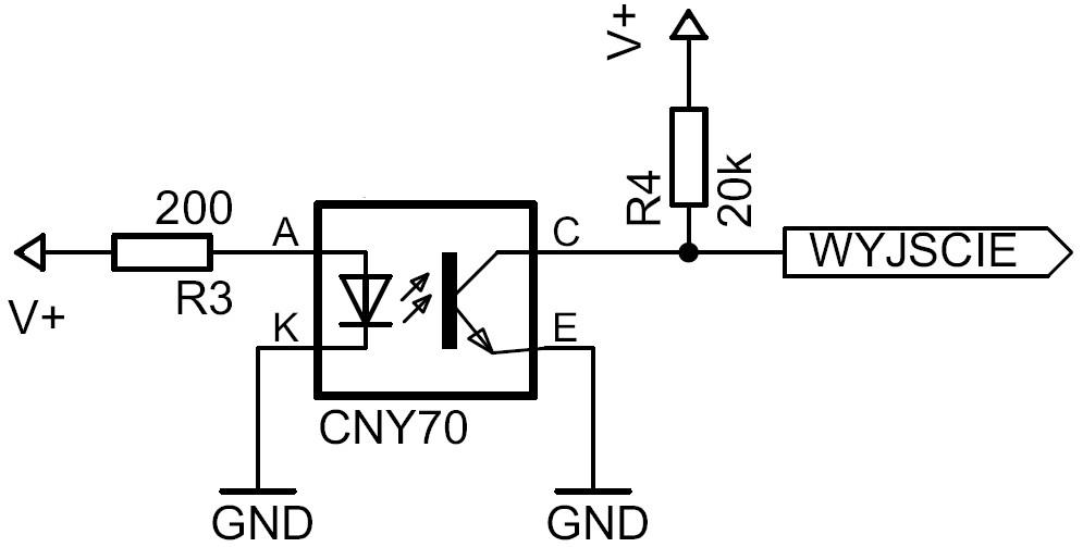 Przykład podłączenia czujnika odbiciowego CNY70